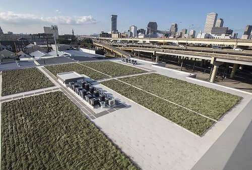 At Safeguard Self Storage on Erato Street in New Orleans, This Grass Roof is Part of Our Green Energy Initiative.